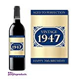 1947 Vintage Blue Happy 70th Birthday 2017 Wine Bottle Label Gift for Women and Men