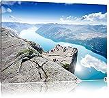 Preikestolen Lysefjord Küste in Norwegen, Format: 100x70 auf Leinwand, XXL riesige Bilder fertig gerahmt mit Keilrahmen, Kunstdruck auf Wandbild mit Rahmen, günstiger als Gemälde oder Ölbild, kein Poster oder Plakat