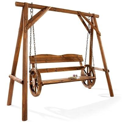 """Rustikale """"Schaukelbank Wagenrad"""" aus Holz im Western Stil"""