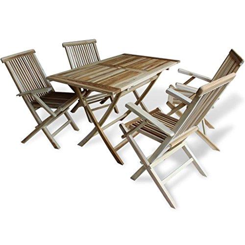 SSITG teck 5tlg. fauteuils en bois meubles de jardin essgruppe Chaises pliantes