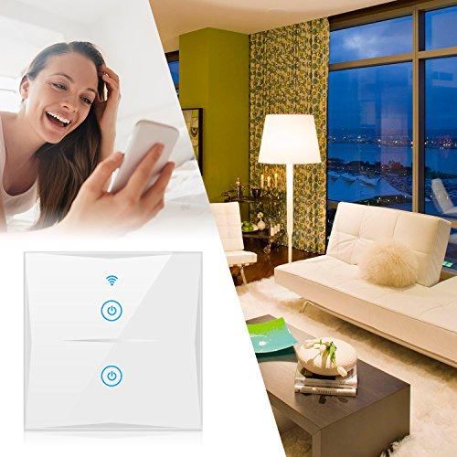 Timing-Funktion mit geh/ärtetem Glas Touchscreen 2-weg Alexa Smart Lichtschalter Steuern Sie Ihre Ger/äte von /überall SAIHAM 2-Weg-Wifi-In-Wall-Schalter arbeitet mit  Alexa und Google Home