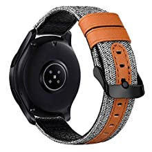 iBazal Bracelets Galaxy Watch 46mm Toile Tissu Canevas 22mm Bande Compatible avec Samsung Gear S3 Frontier Classic Band Remplacement pour Huawei Watch 2 Classic/GT,Ticwatch Pro/E2/S2 -Blanc