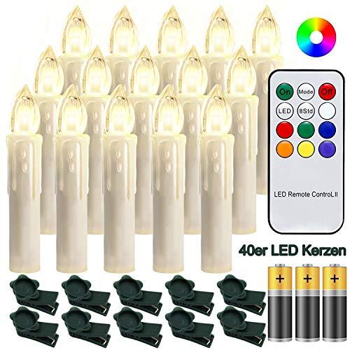 Hengda 40 Stück LED Weihnachtskerzen mit Fernbedienung RGB Kerzen Lichterkette mit Batterien Christbaumkerzen Kabellos LED Kerzenlichter Weihnachts