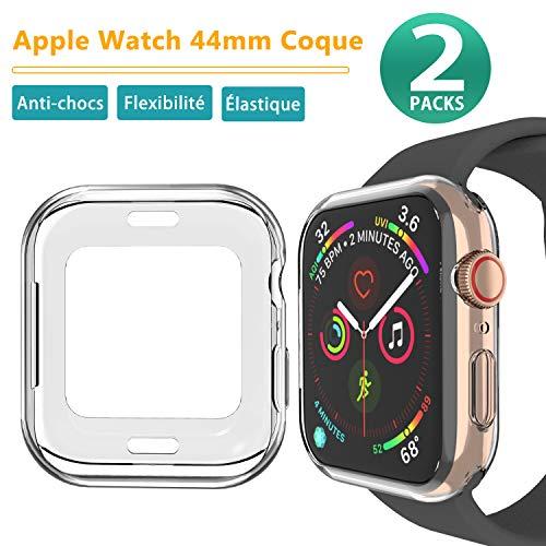 Ossky Apple Watch 44mm Coque, Housse de Protection [2 Pièces] Apple Montre 5/4, 44mm Protecteur Coque Souple en TPU pour Apple Watch Séries 5/4,44mm (Transparent)