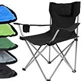 Miadomodo - Chaise de camping/pêche pliante - avec appui-tête, porte-boisson et sac de transport - L/l/H env. 52/50/82 cm – Noir – 1 pièce
