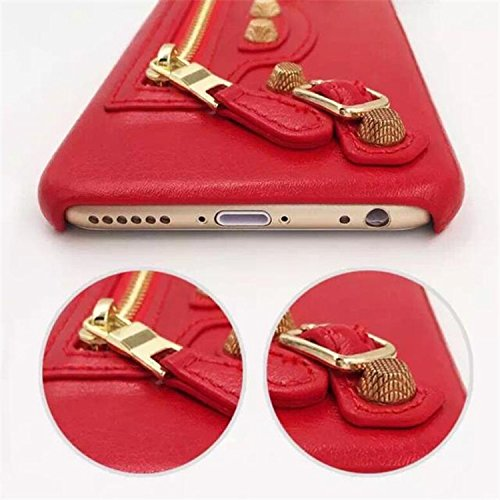 Coque iPhone 6 Plus/6s Plus , iNenk® Fermeture à glissière de cuir classique moto sac téléphone Shell Cool PC coquille protectrice personnalité mode marée Housse Etui-rouge 1rouge