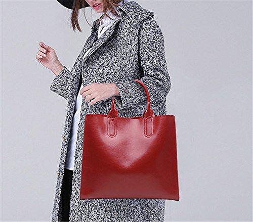 Xinmaoyuan Borse donna borsette in cuoio Big Bag semplice Borsetta tracolla bovini Messenger Tote Bag,Nero Vino rosso