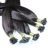 hair2heart 100 x Bonding Extensions aus Echthaar, 60cm, 0,5g Strähnen, glatt - Farbe 1b naturschwarz