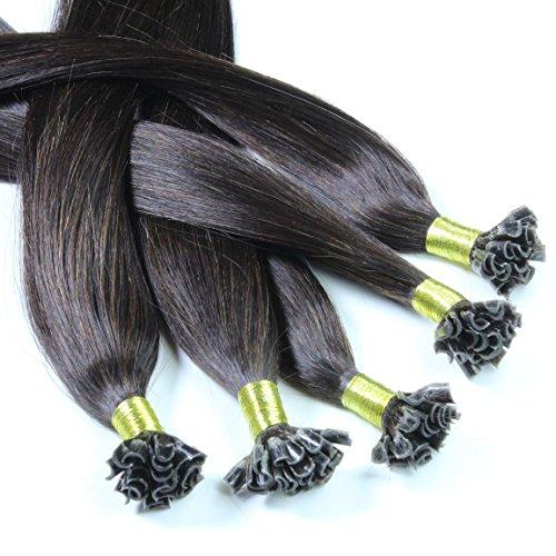Just Beautiful Hair and Cosmetics Lot de 100 extensions de cheveux naturels Remy Hair avec points de kératine pour pose à chaud Noir naturel (1b) 60 cm