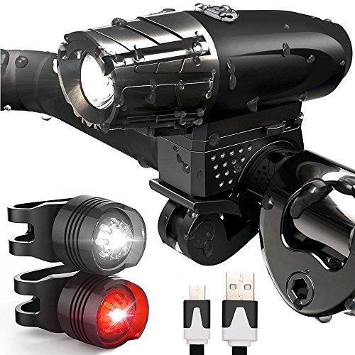 Jooheli Fahrradlicht LED Set, Fahrradlicht Fahrradbeleuchtung, Wasserdicht LED Fahrradlampenset, USB Wiederaufladbare Frontlicht und Rücklicht mit 4 Licht-Modus & 2 USB Kabel für Fahrrad Radfahren