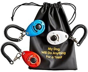 Busybee Clicker de dressage de chien avec bracelet (lot de 3) + 3pochettes pratique + 1Sac de friandises pour chien. Bonus?: Guide de formation