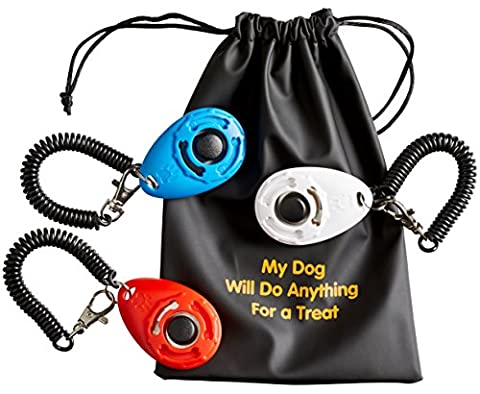Dog Training Clicker with Wrist Band (3 Pack) + 3 Practical Pouches + 1 Dog Treat Bag. Bonus: Training Guide (Black)