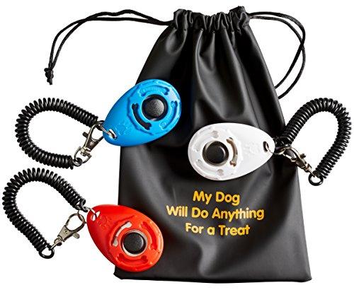 Sporteeno Klicker für Hunde (3er Pack) mit Armband und Zubehör   3 praktische Beutel   1 Leckerli Futter Tasche   Einfacher Hundetraining Ebook Geschenk