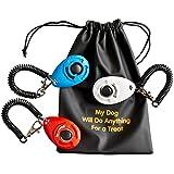 Sporteeno Klicker für Hunde (3er Pack) mit Armband und Zubehör | 3 praktische Beutel | 1 Leckerli Futter Tasche | Einfacher Hundetraining Ebook Geschenk