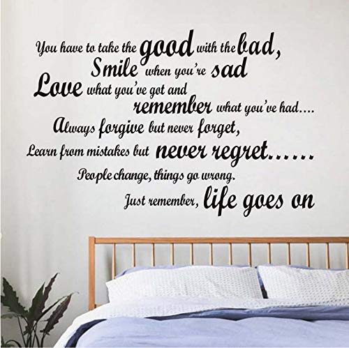 Lächeln, wenn Sie traurig sind Wohnzimmer Wandtattoo Art Vinyl abnehmbare englische Text Zitat Wandsticker Home Decor Wohnzimmer 89x58 cm