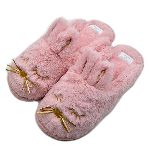 Cute Bunny Fuzzy Slippers |Warm Animal Memory Foam Rabbit Plush |Women Indoor Outdoor Bedroom Slippers