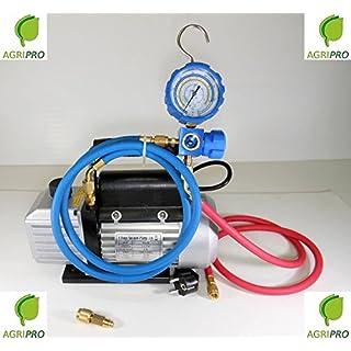 Agripro Pumpenset Ladung und Vakuum, 42 l, mit Manometer und Schläuchen für Gasnachfüllung R410A R407C R22 R134A