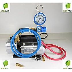 Agripro Kit charge et vide pompe 70l avec manomètre et flexibles pour recharges gaz R410A, R407,R22,R134a