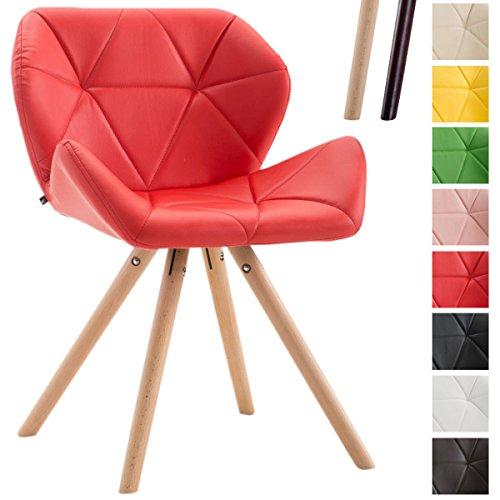 Clp sedia dal design rétro tyler, similpelle, imbottita, gambe tonde, telaio in legno di faggio, sedia visitatore, con schienale, capacità di carico max 125 kg rosso colore base: natura