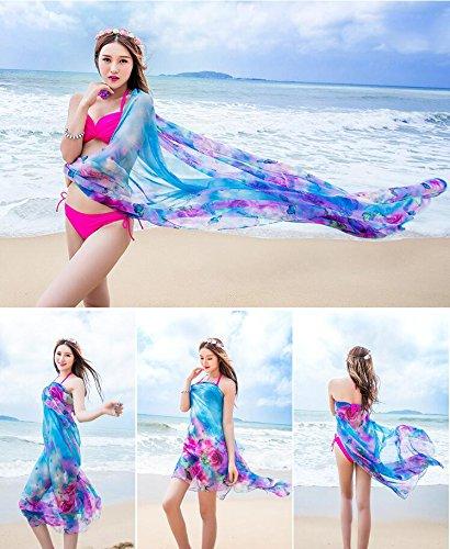 UK_Stone Damen Übergroesse Modisch Kariert Blumen Pattern Sarong Pareo Strandtuch Wickeltuch Bikini Sonnenschutz Decke Cover-up Blumen und Schmetterling Blau