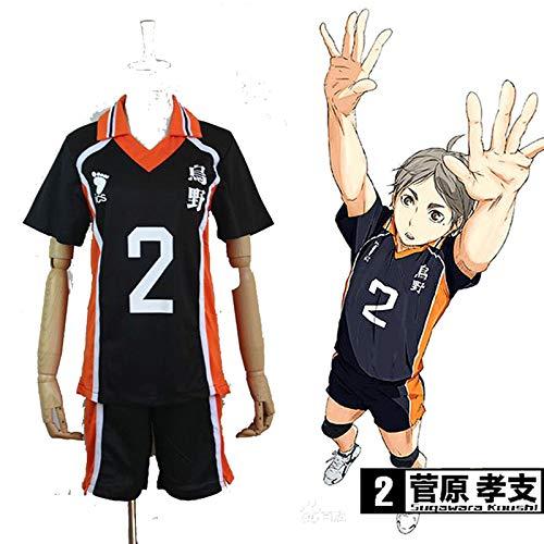 Haikyuu!! Karasuno High School Uniform Jersey No.2 Daichi Sawamura Shirts Cosplay Kostüm (M)