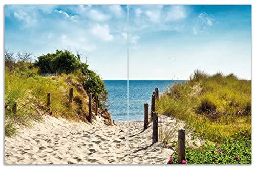 Wallario Herdabdeckplatte/Spritzschutz aus Glas, 2-teilig, 80x52cm, für Ceran- und Induktionsherde, Motiv Auf dem Sandweg zum Strand