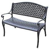 Gartenbank FG16, Bank Parkbank Metallbank, 2-Sitzer, Aluminium, matt-schwarz