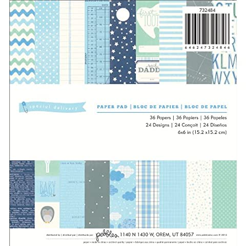 American Crafts Pebbles Paper Pad 6-inch x 6-inch 3Special Delivery- Boy