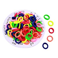 Youkara Pack Of 100 Colorful Hair Accessories Girls Small Hair Ties Set Elastics Bobbles Bands Hoops- Ideal Party Bag Filler(colorful)