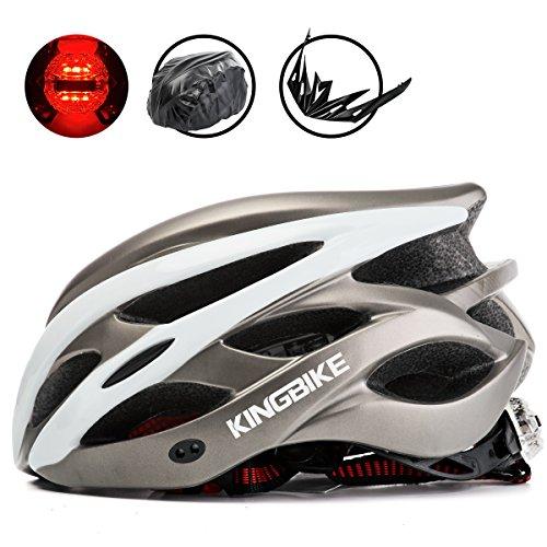 KING BIKE Erwachsene Fahrradhelm für Herren Damen Frauen Sicherheit Hinten LED-Licht Helm Regenschutz Leicht (Weiß & Titan)
