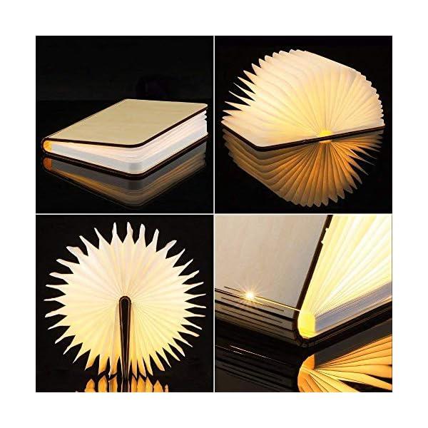 Lampada Libro USB Ricaricabile, Lampada a Forma di Libro, Luce LED di legno, Decorativi Lampada da Tavolo -1000mAh Mini… 4 spesavip