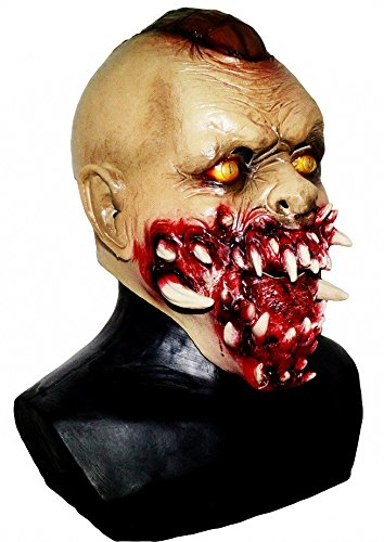 (shoperama Zombie Latex-Maske THE WALKING DEAD mit REISSZÄHNEN)