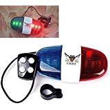 Lighter House XC-325 6 LED Light 4 Sounds Trumpet Cycling Horn Red & Blue Flash Warning With Lights