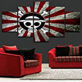 Mddrr One Set 5 Panel Anime One Piece Logo Japanese Flag Poster Modern Artwork Bedroom Wall Decor High Quality Canvas Print Painting