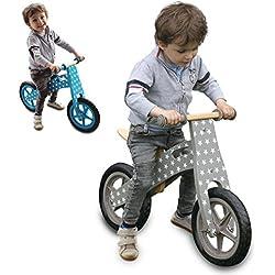 Monsieur Bébé ® Bicicleta infantil de madera, Bicicleta sin pedales con sillín regulable - 2 colores - Norma CE