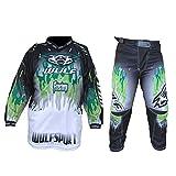 Wulfsport Firestorm Kinder Anzug Motorrad Motocross ATV Quad MX Racing Sport Junior Bekleidung Bike Anzug für Kinder (3-13 Jahre, 20-30, Mehrere Farben) - Grun - 8-10 Jahre, 24-Taille