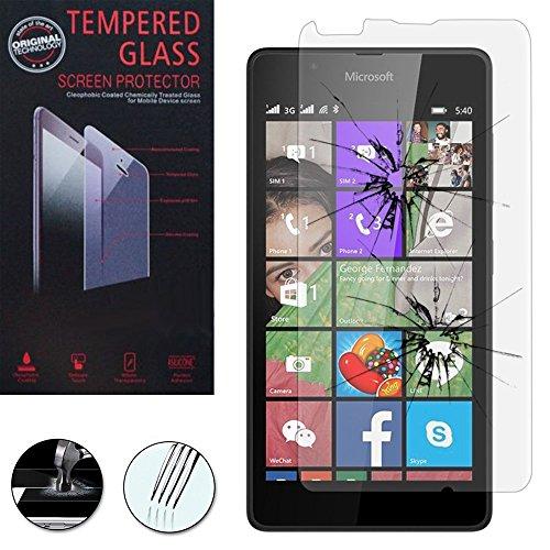 VComp-Shop® Hochwertige gehärtete Panzerglasfolie für Microsoft Lumia 540 Dual SIM - TRANSPARENT