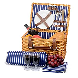Miyagi Tea Europe 2 Person Traditional Vintage Wicker Golden Brown Natural Picnic Basket Hamper with Cutlery, Plates, Glasses, Tableware & Picnic Blanket