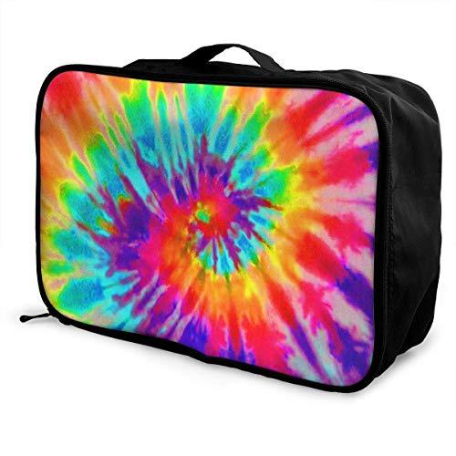 Qurbet Reisetaschen,Reisetasche, Portable Luggage Duffel Bag Tie Dye Travel Bags Carry-on in Trolley Handle -