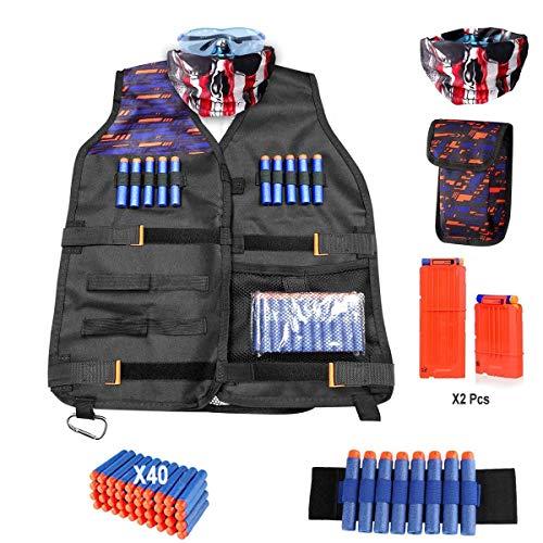 Kinder Taktische Weste Jacke Set für Nerf N-Strike Elite Serie mit Gesichtsmaske, Schutzbrille, 40 Weiche Schaumstoffgeschosse, 6 und 12 Dart Quick Reload Clip, Handgelenkband, Schnallentasche -