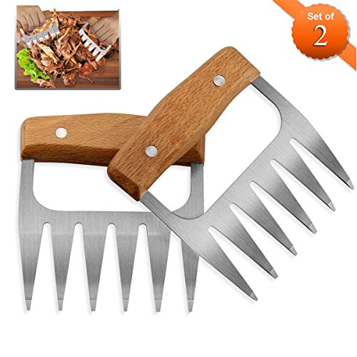 Edelstahl Fleisch Krallen Meiso Metall Pulled Pork Shredder Fleisch Claws Meat Claws Fr Pulled Pork Brenkrallen Mit Holzgriff Bbq Gabeln