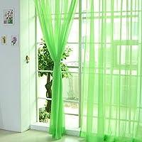 HMOCNV Cortina moderna colorida floral de tul, cortina de gasa para puerta, ventana, habitación, boda, transparente, cortina transparente, Verde, 1 pieza