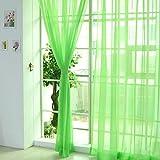 Fenster Vorhang Sheer, bunt, floral Tüll Voile Tür Vorhang Panels für Wohnzimmer, Voile Vorhang Panel (1, grün)