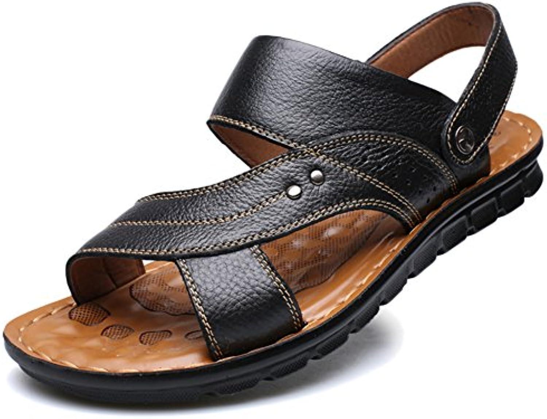 Sandalias Hombres Casual Cuero Genuino De Verano Zapatos De Playa Punta Abierta Transpirable De Gran Tamaño Zapatillas...