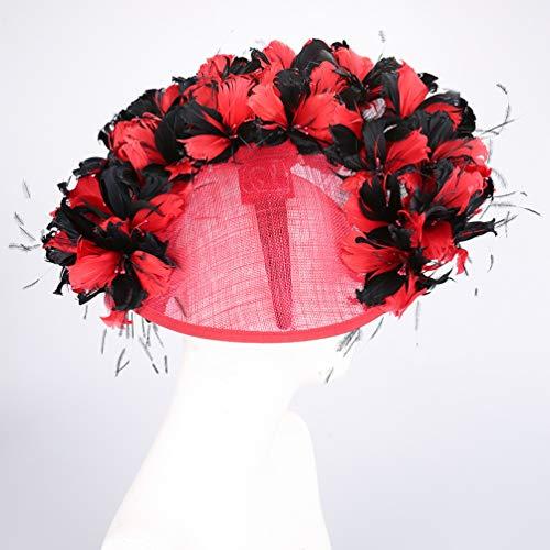 kyprx Kostüm Philippine Hanf Garn Kopfschmuck europäischen und amerikanischen Temperament eleganten Hut Haarschmuck weiblich rot