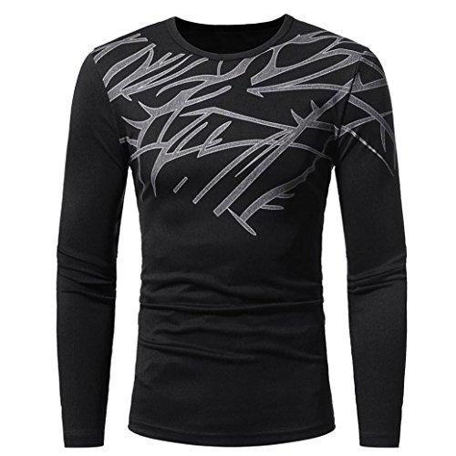 TWBB Tops Herren, Herbst Winter Lange Ärmel Top Mode Printing Männer langärmelige T-Shirt Bluse (L3, Schwarz)