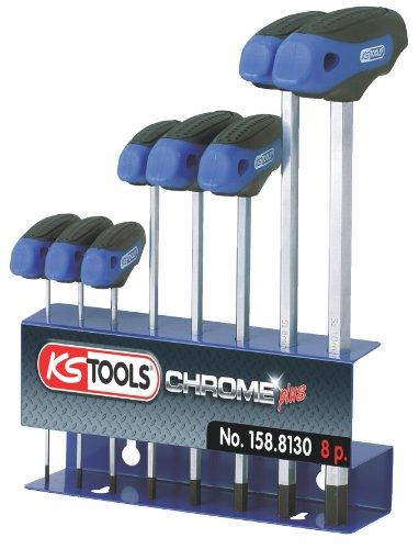 KS Tools 158.8130 ERGOTORQUEplus T-Griff-Innensechskant-Schlüssel-Satz, 8-tlg. (Griff 8)