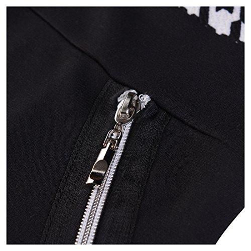 Miusol Damen Kleid Mit 3/4-Arm Hahnentritt Muster mit Reissverschluss vorne?Business Abendkleider Schwarz EU 44/46/XXL -