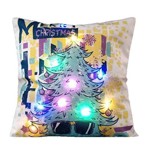 Fairylove Weihnachten LED-heller Leinen-Kissenbezug Einzigartige Hauptdekor-Sofa-Throwpillow Kissen-Abdeckung Neu,Gläser Weihnachtsbaum (Santa Quadratische Gläser)