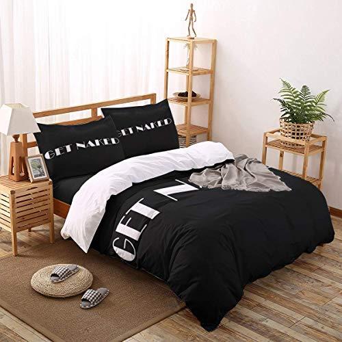 4pcs Bettbezug Set Schwarz Minimalist Font nackt leichte Pflegeleichte Bettwäsche-Set für Männer, Frauen, Jungen und Mädchen, Königin Größe